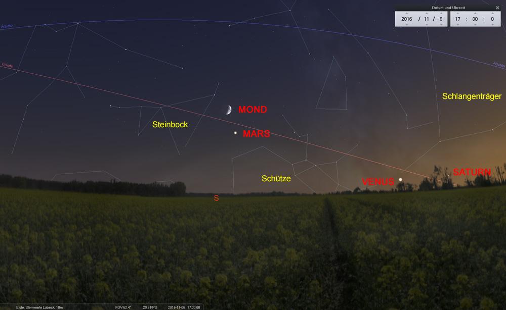 06.11.: Vier Tage nach Venus und Saturn besucht der Mond den Mars