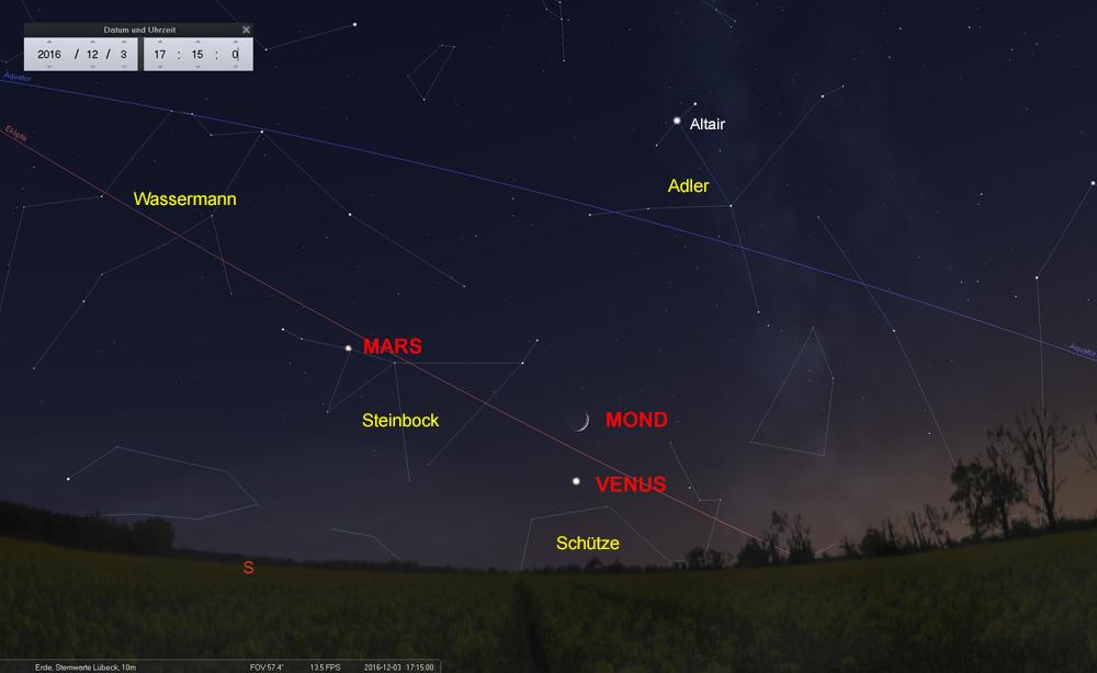 03.12.: Der Mond überholt die Venus...