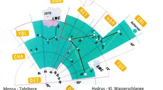 Die Sternbilder Hydrus – Kleine Wasserschlange und Mensa – Tafelberg