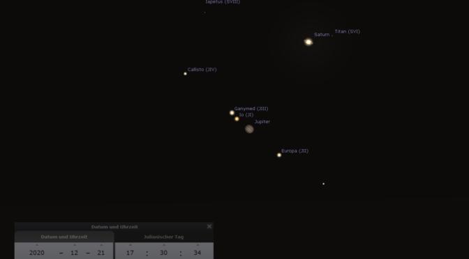 21.12. Große Konjunktion von Jupiter und Saturn